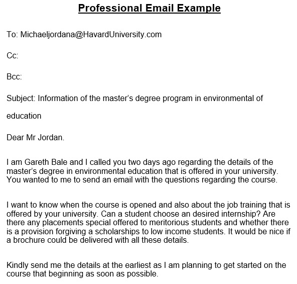 free professional email template