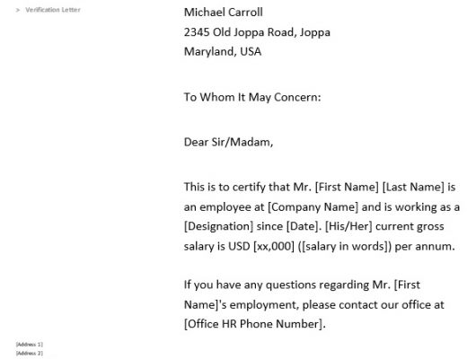 free proof of employment letter 13