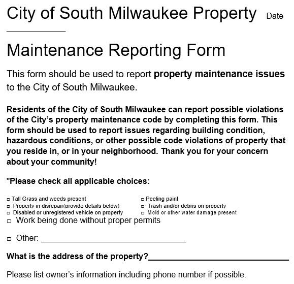 maintenance report form