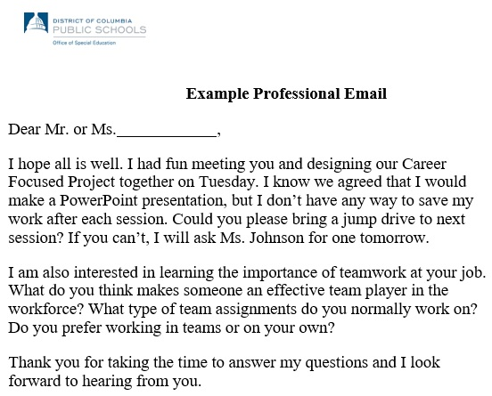 professional email example 4