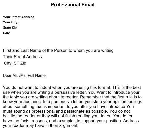 professional email example for students