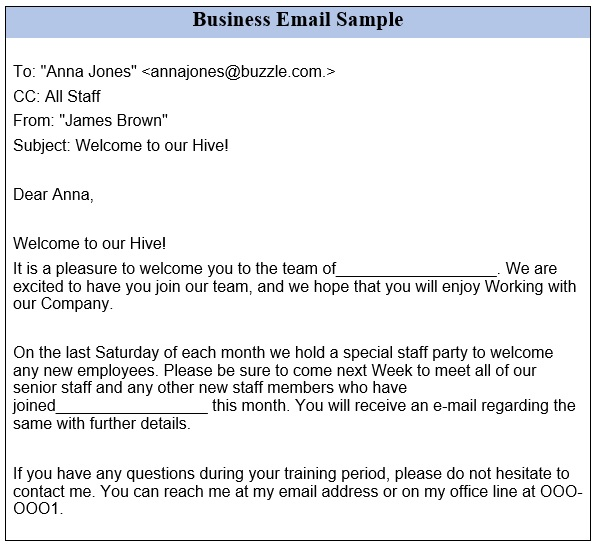 professional email sample for business