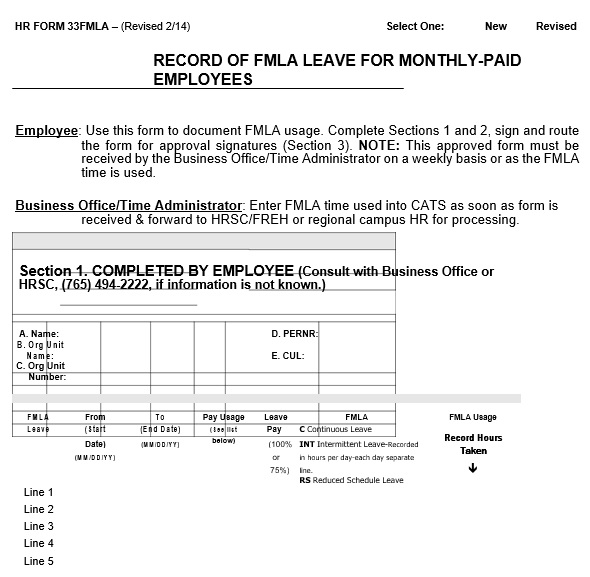 record of fmla leave for monthly paid employees