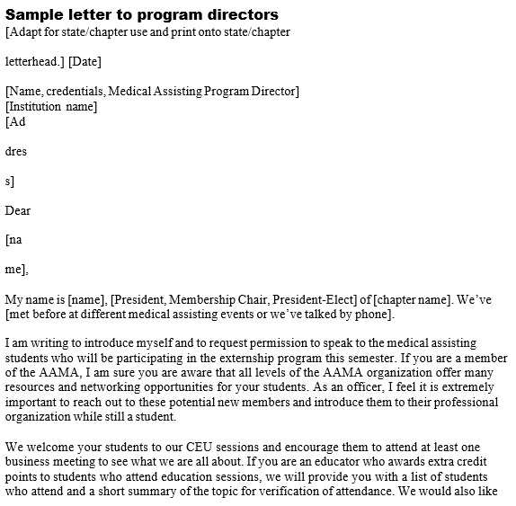 sample email to program director