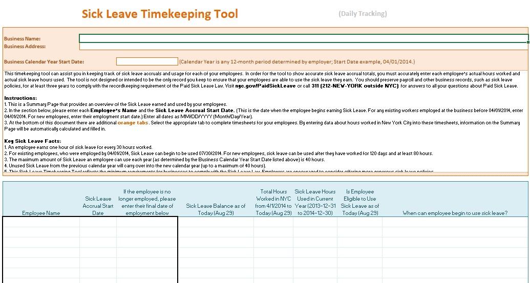 sick leave timekeeping tool
