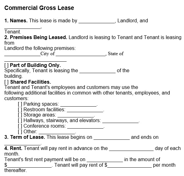 commercial gross lease form