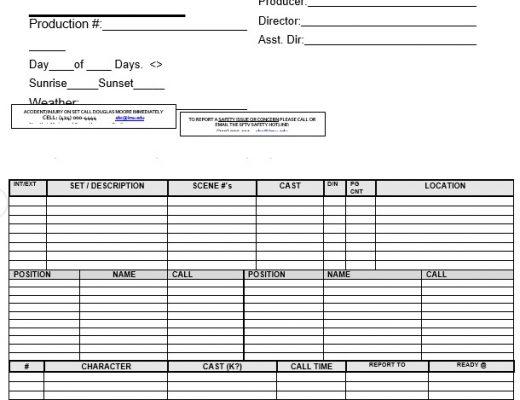 free call sheet template 17