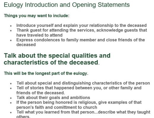 free eulogy template 10