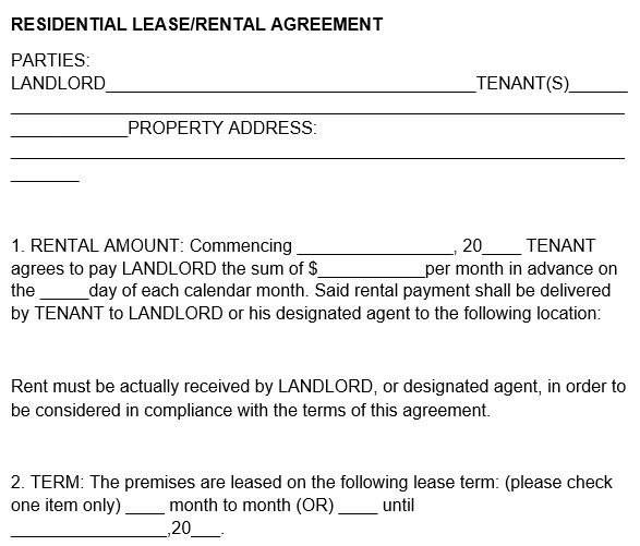 free rental application form 1