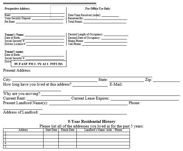 free rental application form 4