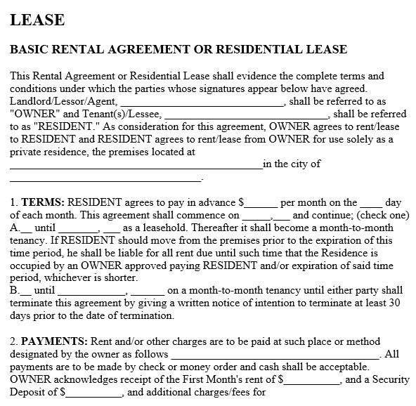free rental application form 6