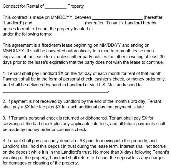 free rental application form 8