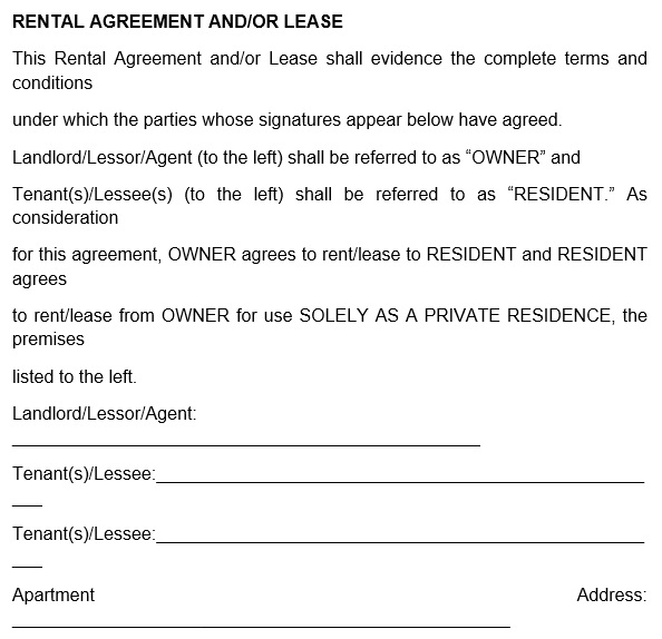 free rental application form