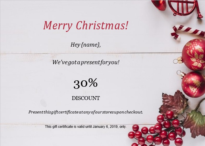 merry christmas gift certificate template