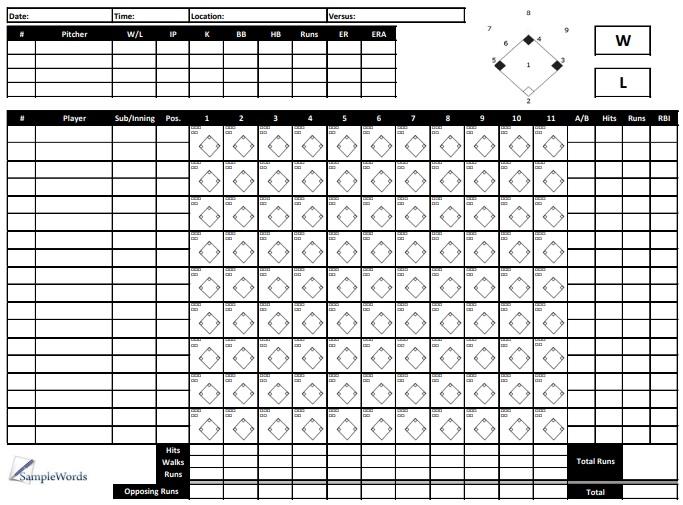 printable baseball scorecard template 12