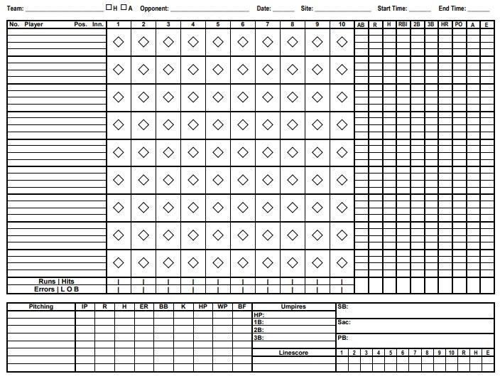 printable baseball scorecard template 2