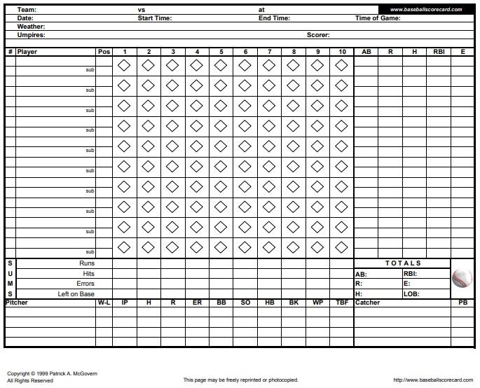 printable baseball scorecard template 6