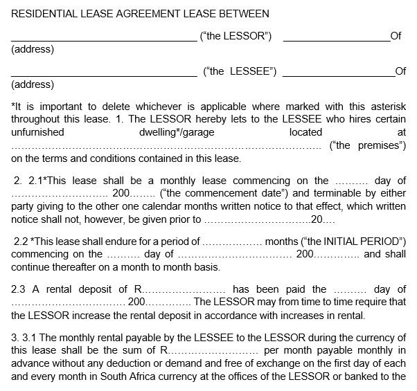 rental lease agreement lease between