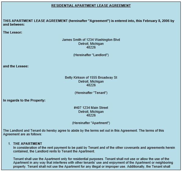 residential apartment lease agreement