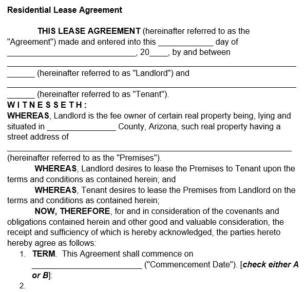 residential lease agreement form 1