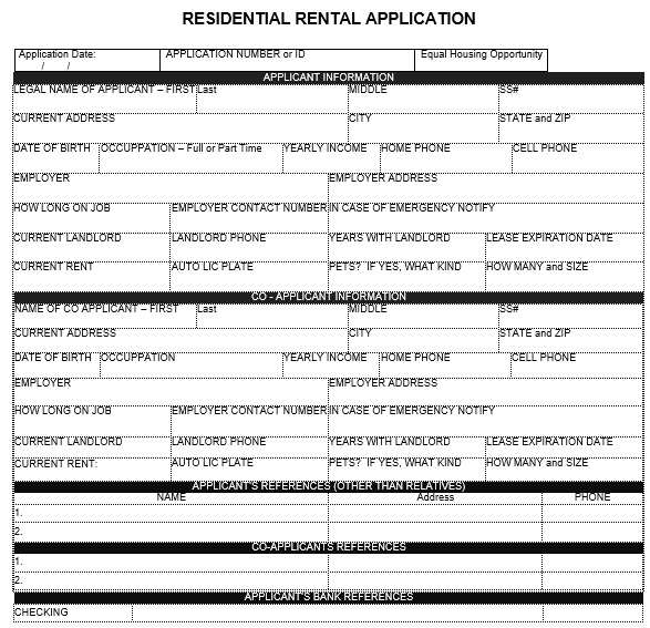 residential rental application form