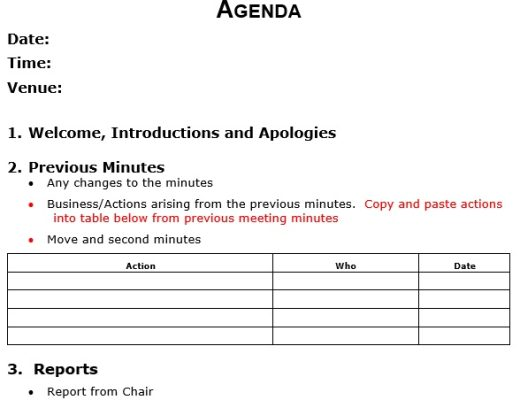 free corporate minutes template 3